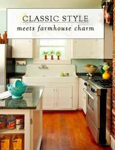 Love the look of this quaint cottage-style kitchen? Get a similar look with a Signature Hardware early American-style Cast Iron Sink.