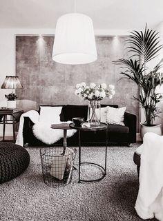 Home inspiration: sala de estar. cinza, preto e branco. industrial. planta. metal. iluminação.