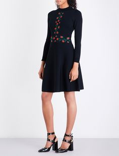 SANDRO Rose-embroidered knitted dress