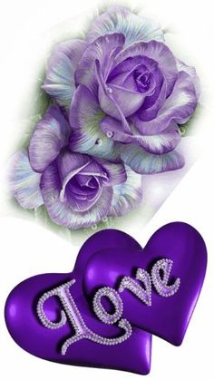 Purple Roses with LOVE in purple heart Purple Love, All Things Purple, Purple Flowers, Purple Stuff, Love You Gif, Love You Images, Love Pictures, Heart Wallpaper, Love Wallpaper