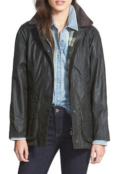 Barbour 'Beadnell' Waxed Cotton Jacket available at Barbour Coats, Barbour Jacket Women, Barbour Quilted Jacket, Waxed Cotton Jacket, Line Jackets, Well Dressed, Ideias Fashion, My Style, Plaid Fabric