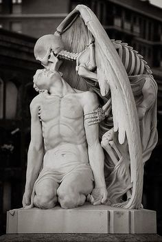 The kiss of death. This astonishing sculpture forms part of. (The Messes of Men) * The kiss of death ~ This astonishing sculpture forms part of Barcelona's Poblenou Cemetery. The Kiss of Death (El Petó de la Mort in Catalan and El beso de la muerte in S La Danse Macabre, Illusion Kunst, Kiss Of Death, Angel Of Death Tattoo, The Death, Cemetery Art, Cemetery Statues, Angel Statues, Art Sculpture