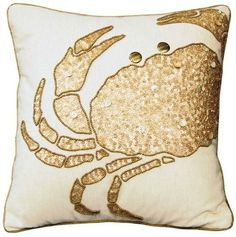 Gold Crab Pillow: http://www.completely-coastal.com/2015/11/gold-silver-home-decor-coastal.html