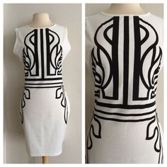 """White and black dress White and black boutique dress. Measures 38"""" long with a 38"""" bust. There is no size tag, but based on measurements and the way it fits on my dress form I would say it's a L. 100% polyester. This dress is more of a bodycon style and does not have too much stretch to it. Great used condition.No trades. Poshmark onlyI am very open to fair offers! Boutique Dresses"""