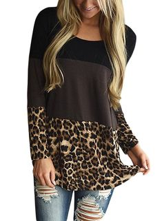 HOTAPEI Womens Plus Size Long Sleeve Casual Round Neck Loose Tunic Tops Blouse Tee Shirts Leopard XXL: Women long sleeve t shirt with color black, Plaid Hem and Lace stitching on back. Long Sleeve Tunic, Long Sleeve Tops, Blouse Sexy, Body Lingerie, Plaid And Leopard, Black Plaid, Shirt Bluse, Lace Tunic, Tunic Blouse