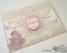 convite artesanal provençal floral boneca de pano no jardim rosa