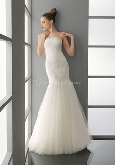 strapless court train ruched tulle trumpet classic wedding dress - Gindress.com