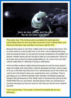 Funny pictures about Probably The Most Important Scene In Any Pixar Movie Ever. Oh, and cool pics about Probably The Most Important Scene In Any Pixar Movie Ever. Also, Probably The Most Important Scene In Any Pixar Movie Ever photos. Disney Pixar, Disney And Dreamworks, Walt Disney, Disney Nerd, Disney Love, Disney Magic, Fandoms, Film Anime, Mike Wazowski
