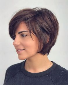 Short Haircuts With Bangs, Short Layered Haircuts, Short Hairstyles For Thick Hair, Haircut For Thick Hair, Short Hair Styles, Thick Short Hair Cuts, Short Haircut With Layers, Short Hair Cuts For Women Over 40, Short Hair Round Face Plus Size