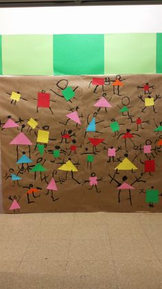 Collaborative art - people from shapes. Gloucestershire Resource Centre http://www.grcltd.org/scrapstore/