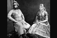 Maharaja Jaswant Singh of Jodhpur with one of his wives.