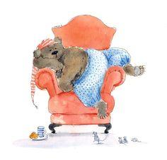 Sleeping Bear watercolor original children book by ursastudio