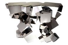 """Vан der Straeten.  Дизайнер Эрве ван дер Стратен. Консоль """"Кристаллоид"""", посеребренная и никелированная бронза, зеленый лабрадорит, ограниченная серия из 20 штук, 2010."""