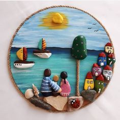 Stone Crafts, Rock Crafts, Diy Arts And Crafts, Clay Crafts, Pebble Painting, Pebble Art, Stone Painting, Pottery Houses, Doodle Art Drawing