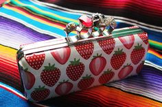 Skull Clutch  Red and Purple Rhinestones with by SugarSkullDesign, $60.00
