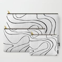 Ebb and Flow 2 - Black and White Carry-All Pouch by laec | Society6