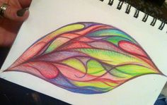 Stained glass leaf color pencil drawing