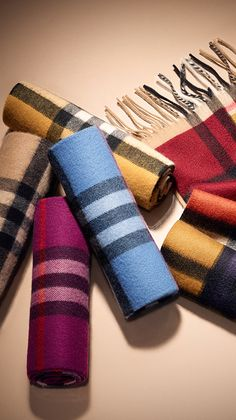 Cosy gifts for little ones - Scottish-woven cashmere check scarves in a spectrum of colours. Find the perfect gift this festive season at Burberry.com #BurberryGifts #Christmas