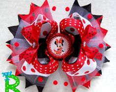 Minnie mouse Red Stacked hair bow, polka dot ott bow, disney boutique hair bow for girls Kids Hair Bows, Girls Bows, Rainbow Loom Charms, Minnie Mouse Bow, Ribbon Sculpture, Boutique Hair Bows, Making Hair Bows, Ribbon Bows, Grosgrain Ribbon