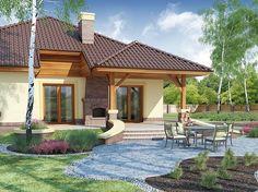 Projekat moderne prizemne kuće s garažom – Ramzes One Floor House Plans, Free House Plans, Floor Plans, Beautiful House Plans, Beautiful Homes, Gazebo, Pergola, 20 M2, Villa