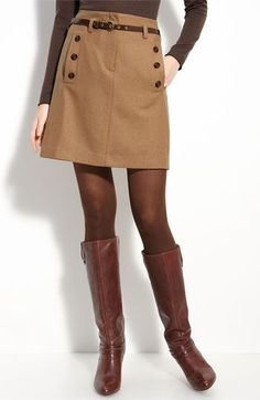 Warm beige skirt, brown tights, and boots Brown Tights, Tights And Boots, Tights Outfit, Brown Boots, Skirt With Tights, Skirts With Boots, Fall Skirts, Cute Skirts, Fall Dresses