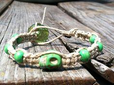 Natural hemp macrame skull bracelet green by missholly3 on Etsy, $15.00
