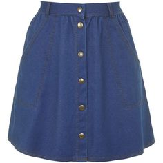 TOPSHOP '70s Wash Button Front Skirt (£31) ❤ liked on Polyvore featuring skirts, mini skirts, bottoms, faldas, topshop, washed blue, cotton a line skirt, flippy skirt, button front skirt ve a line mini skirt
