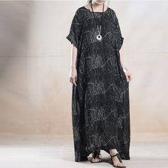 Women cotton linen vintage two peice silk loose dress