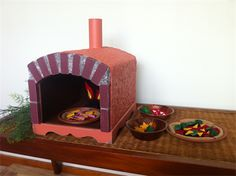 Wood Fire Pizza Oven with Felt Pizzas- pretend play food