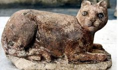 This limestone feline is among some 600 cat statues from a newfound (2010) 2200 year old temple dedicated to the Egyptian cat goddess Bastet.