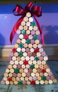 Wine Cork Christmas Tree by LittleChezsCrafts on Etsy, $45.00