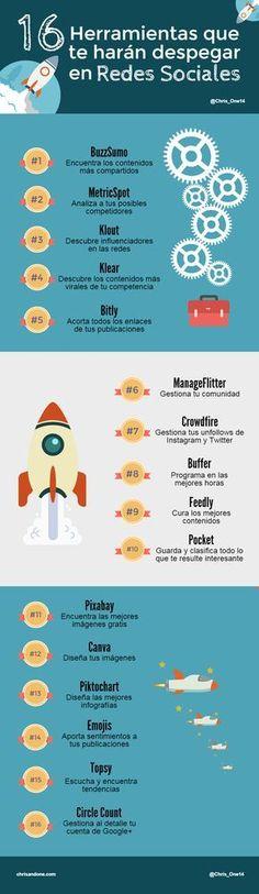 16 herramientas que te harán despegar en Redes Sociales #infografia #infographic #socialmedia