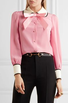 Gucci - Faux Pearl And Bow-embellished Silk Crepe De Chine Shirt - Pink - IT42
