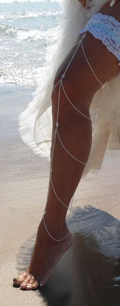 Leg Chain with Crystals by Swarovski. For custom design and pricing, contact Lisa Kelleher Jewellery http://lisakelleher.com/contact.html #MythicalBride