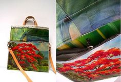 Made from vintage oil paintings sourced in markets across Holland and Belgium, these new fold-over bags are AMAZING!