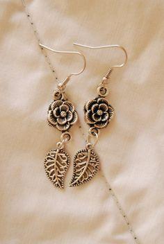 Dangly Antique Silver Flower and Swirly Leaf by PrairieDustInc, $10.00