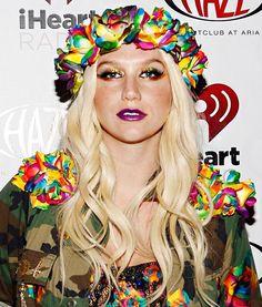 Ke$ha Celebrity Style <3 We love her clothing xoxoxox So colourful! Beautiful <3 It's like a utopian rainbow army. Dior lipstick?