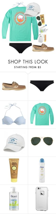 """Lydia's contest-boating"" by lacrosse-19 ❤ liked on Polyvore featuring moda, Sperry Top-Sider, Seafolly, J.Crew, Southern Tide, Ray-Ban, Sun Bum, Dove, LifeProof i Burt's Bees"