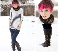 Talk2thetrees Handmade Scarf, Striped Sweater, Forever23 Blue Jeans, Forever Young Shoes Brown Boots - The Day It Snowed - Rachael TreeTalker