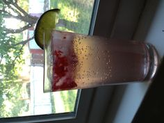 Sparkling raspberry lime white wine spritzer. So refreshing!