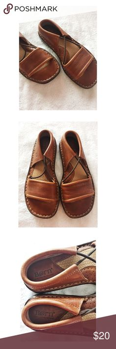 Born Leather Sandals This pair of Born Leather Sandals are a size 6 and the leather uppers are in excellent condition and the soles shows a small amount of wear.  They are brown and super adorable Born Shoes Sandals