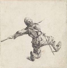 Dirk Maas | Piekenier, Dirk Maas, Philips Wouwerman, 1708 - 1717 | Geknielde piekenier met lans, op de rug gezien. Tweede prent uit een serie van twaalf prenten met voorstellingen van soldaten en paarden.