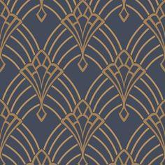 Astoria Deco Wallpaper Dark Blue and Gold Rasch 305340 | Feature