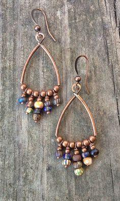 Copper Hoop Bohemian Earrings with Czech Glass Dangles – Rustica Jewelry Beaded Earrings, Earrings Handmade, Beaded Jewelry, Hoop Earrings, Copper Earrings, Wire Jewelry, Heart Jewelry, Artisan Jewelry, Handcrafted Jewelry