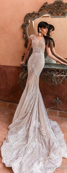 Crystal Design 2018 cap sleeves deep v neck full embellishment elegant trumpet wedding dress open v back chapel train (liberty) lv -- Crystal Design 2018 Wedding Dresses #weddingdress #weddinggown #bridal #wedding