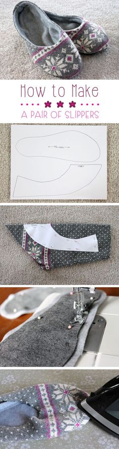 Upcycling has quickly become on our favorites things to do! Transform an old sweater or sweatshirt into these lovely, cozy slippers for around the house: http://www.ehow.com/how_16355_make-pair-slippers.html/?utm_source=pinterest.com&utm_medium=referral&utm_content=slideshow&utm_campaign=fanpage