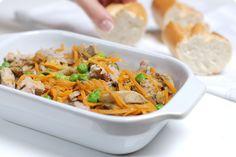 Receta de salteado oriental en thermomix®, con carne de cerdo, jengibre, guisantes, champiñones y zanahorias. Sano y fácil de preparar.