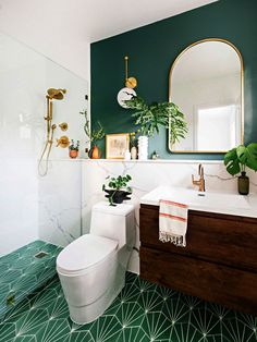 You Will Actually Die When You See This Small Bathroom Before & After Bathroom Decor You Will Actually Die When You See This Small Bathroom Before & After I'm in love with this bathroom makeover! So serene! See This Small Bathroom Before & After Room Tiles, Bathroom Floor Tiles, Bathroom Colors, Bathroom Ideas, Bathroom Green, Mirror Bathroom, Bathroom Cabinets, Bathroom Storage, Tile Grout