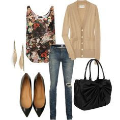 tan cardigan, floral shirt