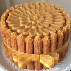 Stack them together and put a ribbon around it Just Desserts, Delicious Desserts, Yummy Food, Churro Cake, Charlotte Cake, Cupcake Cakes, Cupcakes, Cake Recipes, Dessert Recipes